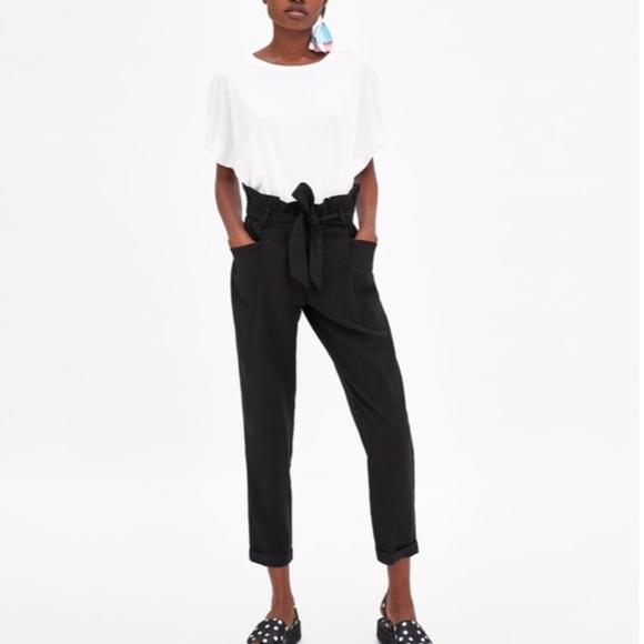 bbc39e40 Zara Pants   Trf Collection Black Paperbag Trousers   Poshmark